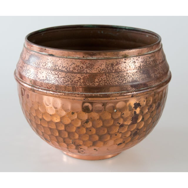 Copper French Hammered Copper Bowl Planter For Sale - Image 7 of 7