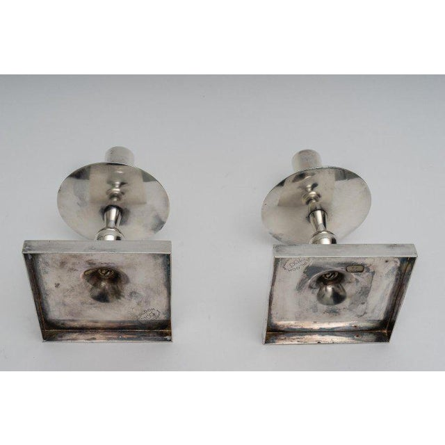 Silver Plated Candlesticks by Tommy Parzinger - a Pair For Sale - Image 11 of 13