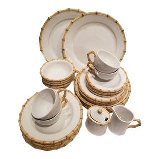 28 Pieces of Juliska Bamboo Pattern Dishes For Sale