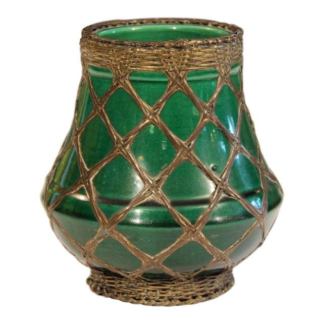 Antique Awaji Pottery Bronze Wrapped Artist's Brush Pot Vase Zen Ikebana For Sale