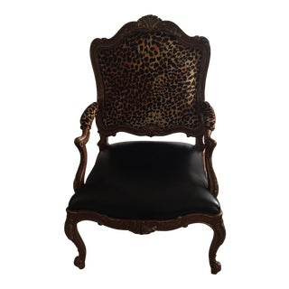 French Chair with Ralph Lauren Animal Print Velvet Faux Leather Seat For Sale