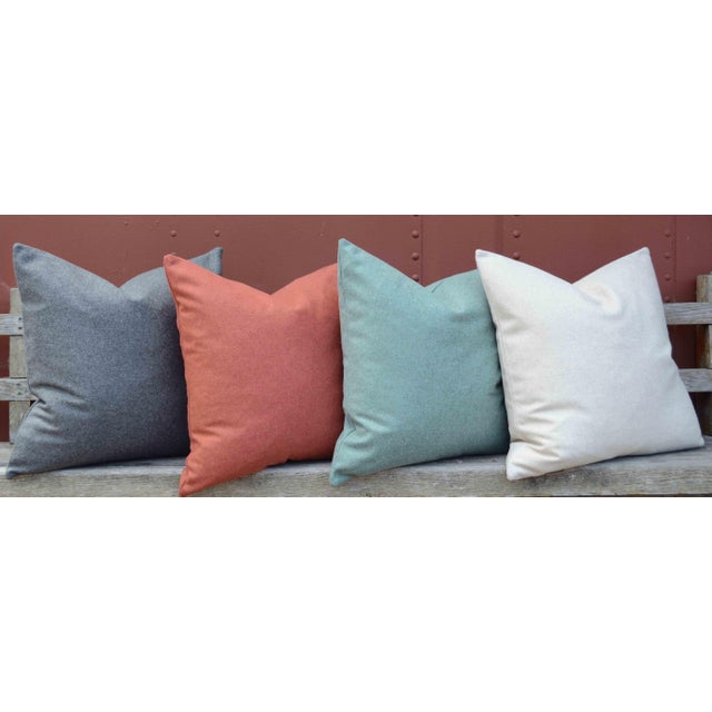Turquoise FirmaMenta Italian Solid Sage Green Sustainable Wool Pillow For Sale - Image 8 of 9