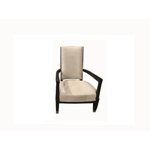 Linen Vintage Armchair From a French Hotel, Newly Recovered For Sale - Image 8 of 8
