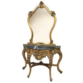 1940s French Carved Gilt Foyer Console Table Marble Top With Mirror - 2 Pieces For Sale