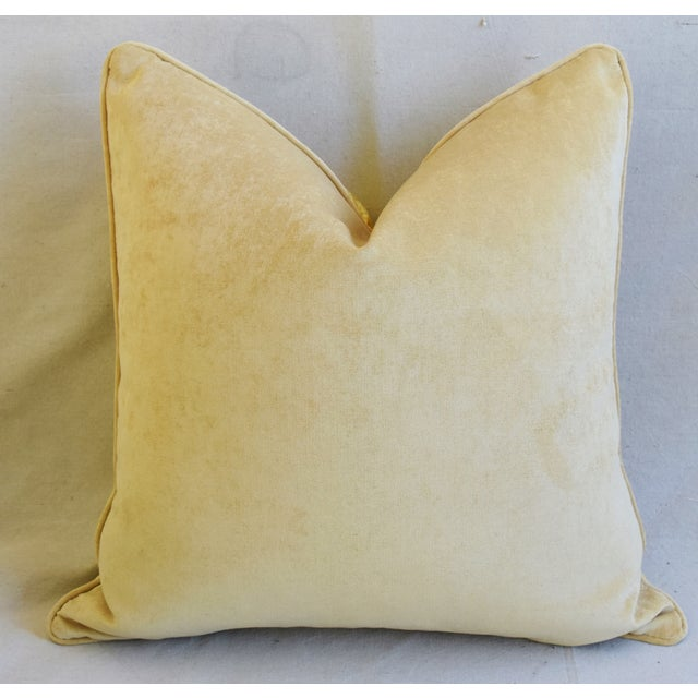"""Designer Italian Golden Silk Lampas Feather/Down Pillows 24"""" Square - Pair For Sale - Image 9 of 12"""