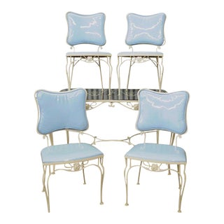 Vintage 5 Pc Blue Wrought Iron Patio Dining Set Table 4 Chairs Mid Century Woodard For Sale
