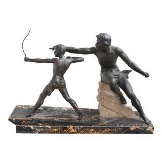 "1920s ""Limousin"" Father Hunt W/ Son French Art Deco Original Bronze Sculpture For Sale"