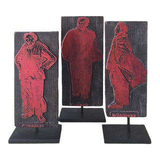 1960s Chinese Cultural Revolution Printing Blocks - Set of 3 For Sale