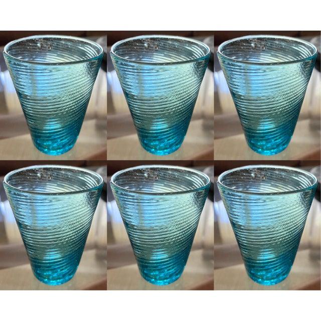 Glass Handblown Aqua Swirl Cocktail Glasses, Set of 6 For Sale - Image 7 of 7