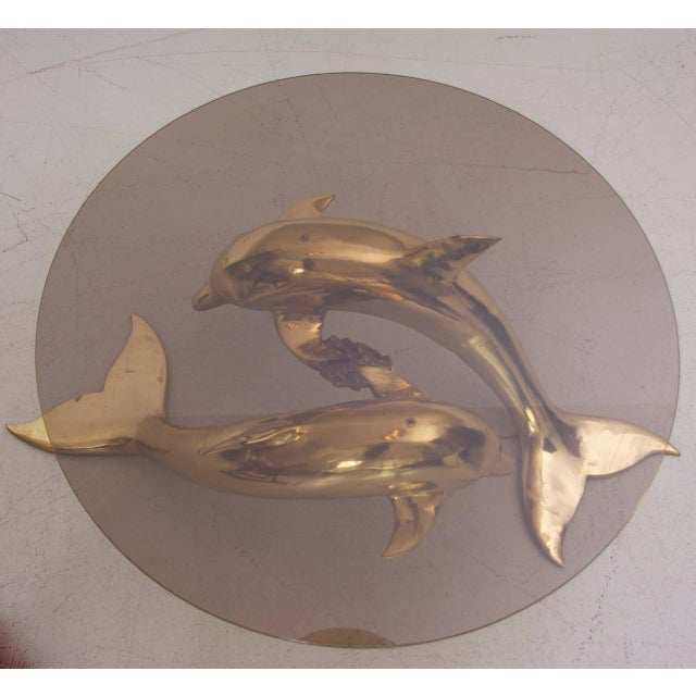 Massive Brass Coffee Table in Form of Two Dolphins For Sale - Image 4 of 7