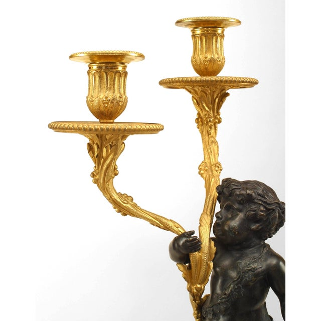 Gold Pair of French Louis XVI Style '19th Century' Gilt & Patinated Bronze Candelabra For Sale - Image 8 of 10