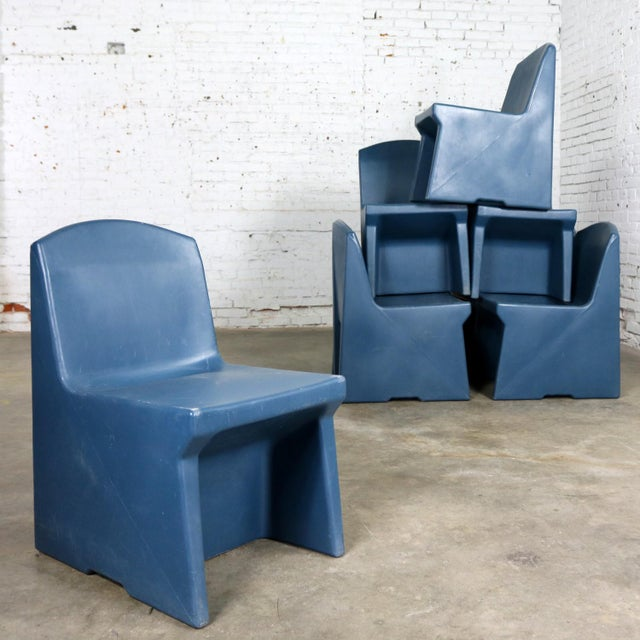 Blue Blue Molded Plastic Side or Slipper Chairs by Norix Set of Eight For Sale - Image 8 of 13