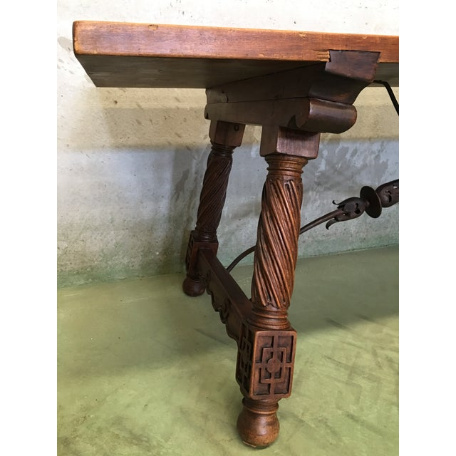 Black 18th Spanish Refectory Desk Table With Solomonic Legs and Iron Stretcher For Sale - Image 8 of 13