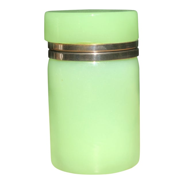Green Cylindrical Opaline Glass Vase For Sale