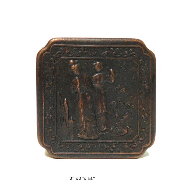 Chinese Handmade Metal Bronze Color Trinket Box For Sale - Image 5 of 5