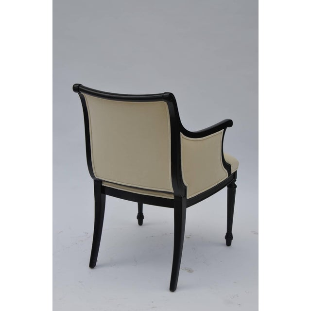 1940s Pair of Chic Black Lacquer and Cream Velvet Armchairs by William Haines For Sale - Image 5 of 8