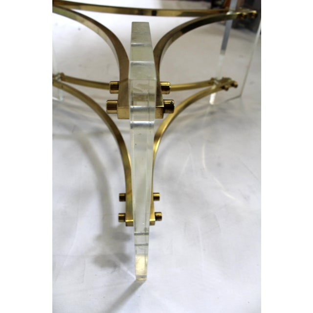 Gold Charles Hollis Jones Mid-Century Brushed Brass & Acrylic Coffee Table For Sale - Image 8 of 9