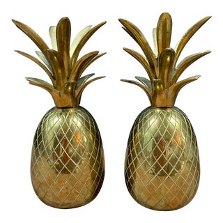 Vintage Brass Pineapple Candle Holders / Dinner Bells - a Pair For Sale
