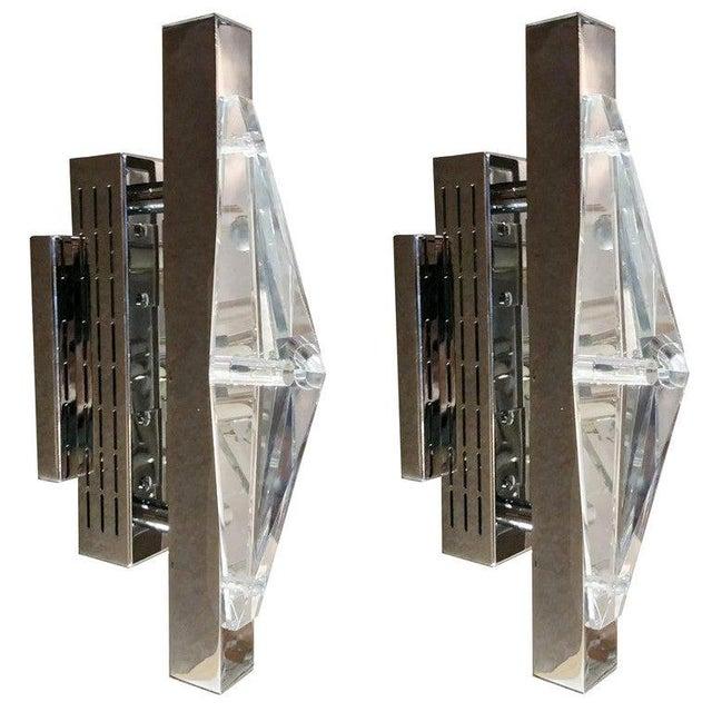 Metal Crystal Chrome Sconces / Flush Mounts by Fabio Ltd - a Pair For Sale - Image 7 of 7