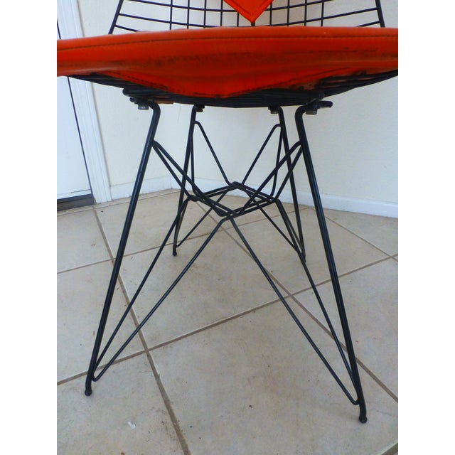 Mid-Century Eames Wire Orange Bikini Chair For Sale In Los Angeles - Image 6 of 10
