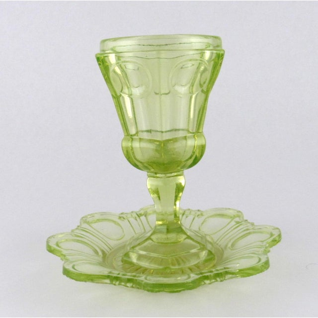 Antique Imperial Russian Uranium Glass Goblet and Saucer For Sale - Image 12 of 12