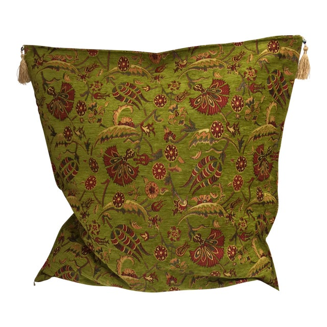 Modern Authentic Kilim Motif Green Pillow Cover For Sale