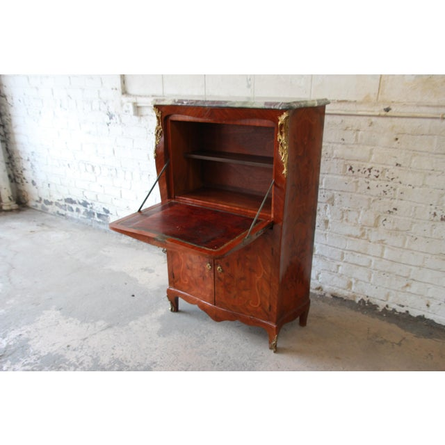 19th Century French Inlaid Marquetry Marble Top Abattant Secretaire For Sale - Image 4 of 13