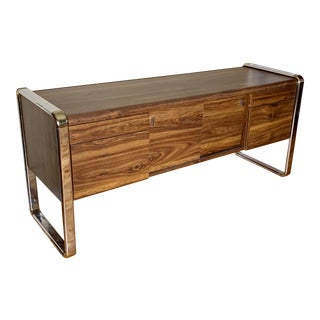 Mid-Century Modern Peter Protzman Style Chrome and Wood Credenza For Sale