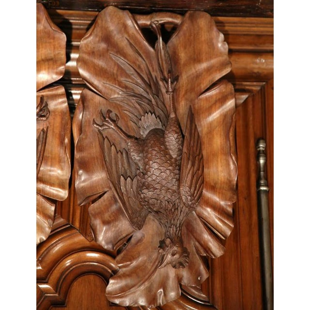 Early 20th Century French Carved Black Forest Walnut Pheasant Trophies - a Pair For Sale - Image 4 of 7