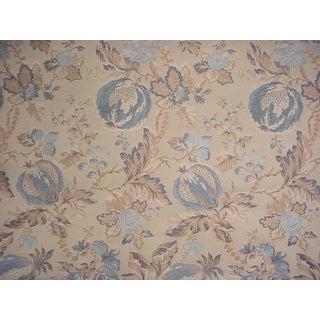 Lee Jofa Marlowe Weave Indigo Floral Brocade Upholstery Fabric- 3-1/4 Yards For Sale