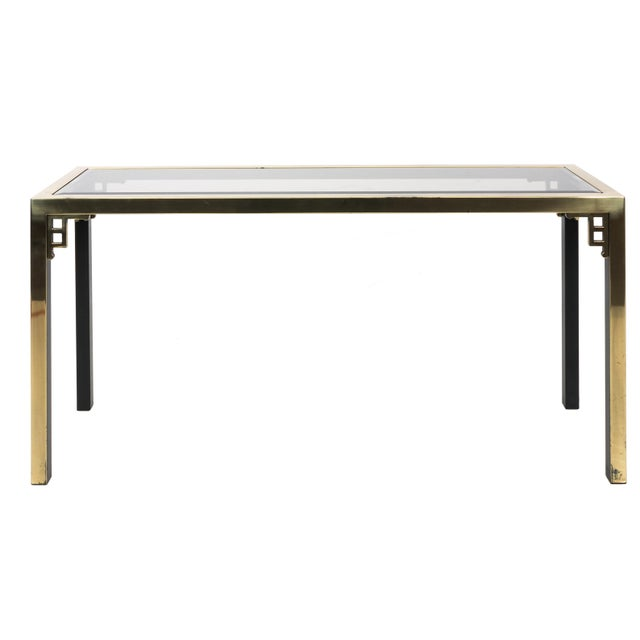Gold 1970s Brass Greek Key Console Table For Sale - Image 8 of 8