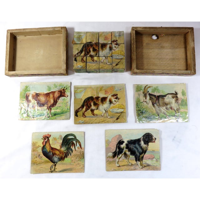 French Country Antique Childs Wood Block Puzzle Set For Sale - Image 3 of 13