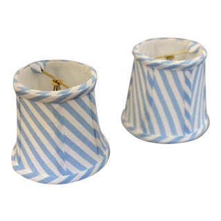 Custom Sky Blue and White Stripe Lamp Shades - a Pair For Sale