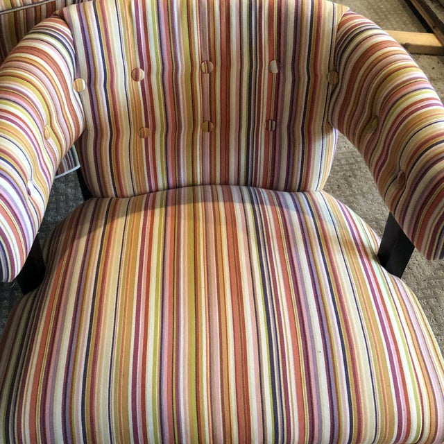 Boho Chic Colorful Striped Barrel Chairs - a Pair For Sale - Image 10 of 11