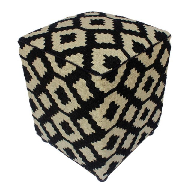 Textile Arshs Domenic Black/Ivory Kilim Upholstered Handmade Ottoman For Sale - Image 7 of 7