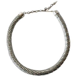 Whiting and Davis Metal Mesh Choker Disco Necklace For Sale