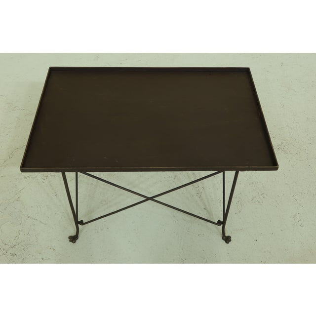 Item: F50055EC: Industrial Regency Metal Coffee Table Age: Approx: 15 Years Old Details: Nice Bronze Painted Finish...