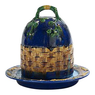 Antique Majolica Covered Cheese Dish For Sale