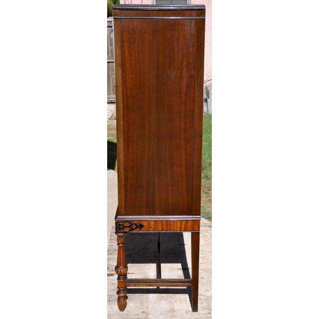 Wood Berkey & Gay Hand Painted Victorian Mahogany China Display Cabinet For Sale - Image 7 of 13