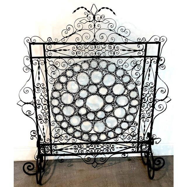 High Victorian Wrought Iron Wire Work Medallion Fires Screen For Sale - Image 10 of 13