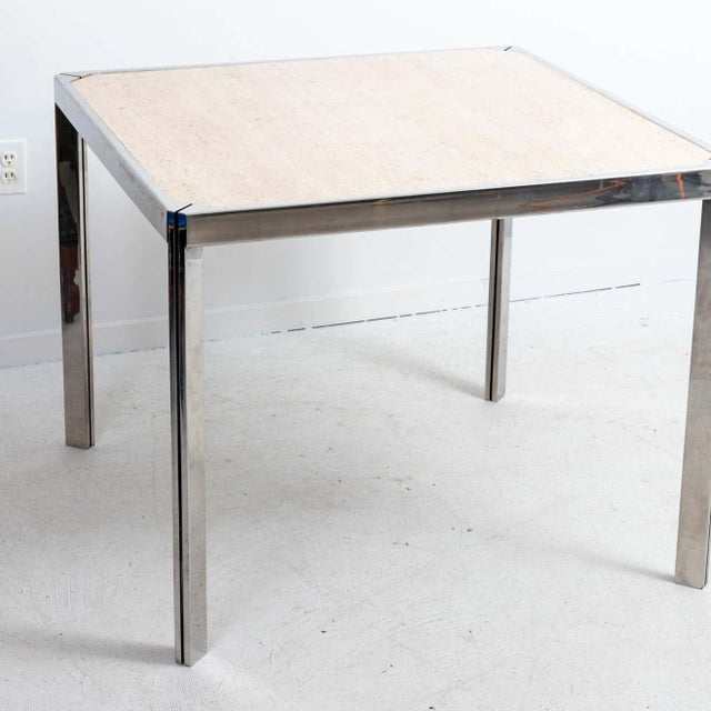 Mid-Century Modern 20th Century Travertine and Nickel Dining/Games Table For Sale - Image 3 of 10
