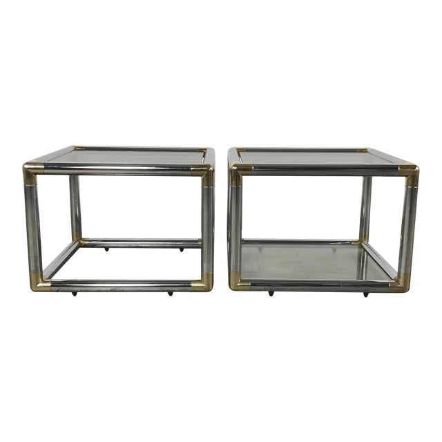 Mid-Century Modern Chrome Boxed End Tables Set - Image 1 of 11