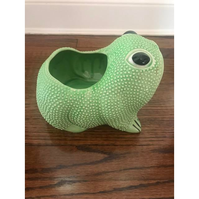 Green Ceramic Frog Planter - Image 2 of 6