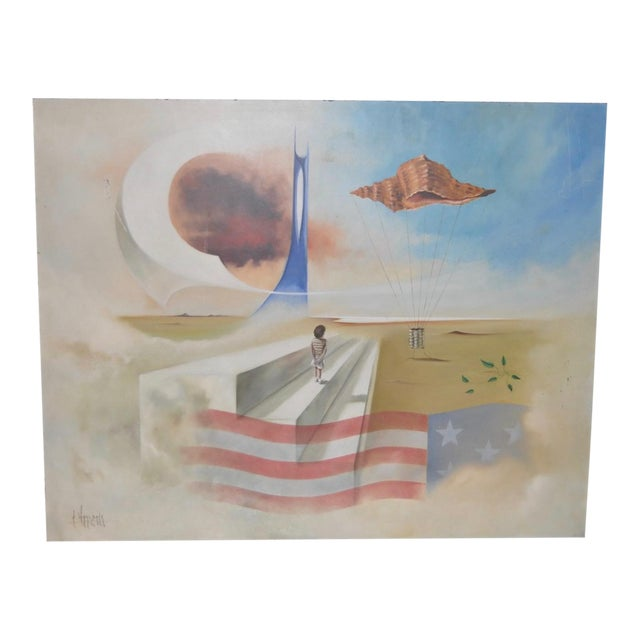 Carlo Wahlbeck Surreal Landscape Painting c.1970 For Sale
