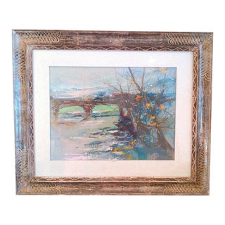 """Early 20th Century Antique """"Winter Scene of Bridge"""" Oil on Board Painting For Sale"""