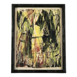 Late 20th Century Elenor Greenberg Original Signed Abstract Relief Print For Sale