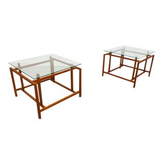 1970s Danish Modern Hemming Norgaard for Komfort Teak & Floating Glass Top Side Tables - a Pair For Sale