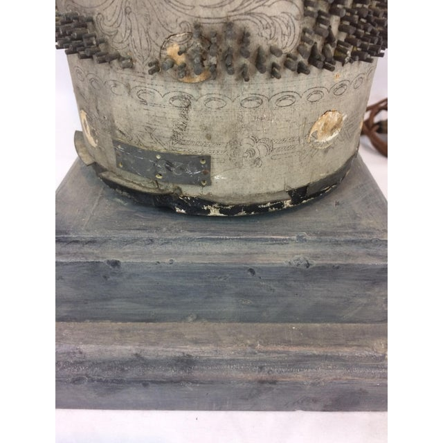 Gray Antique French Wallpaper Roll Table Lamp For Sale - Image 8 of 11