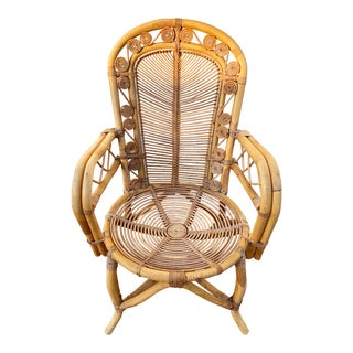Peacock Spiral Wicker Bamboo Rattan Arm Chair For Sale