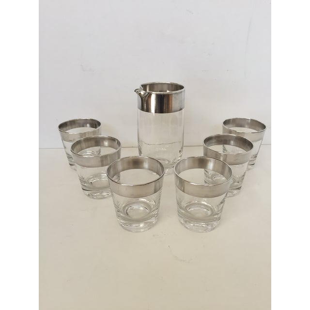 Dorothy Thorpe Silver Banded Pitcher & Glasses - Set of 7 For Sale - Image 4 of 4